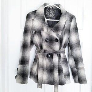 Black Plaid Wool Blend Belted Peacoat Jacket